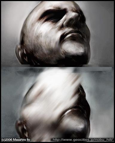 Cette « Face » de Masaharu Ito montre clairement l'influence de Francis Bacon : le visage est effacé, défragmenté.